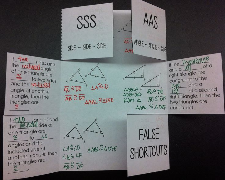 Triangle Congruence Foldable - This would be great in an interactive notebook!  Includes SSS, AAS, ASA, SAS, and HL.