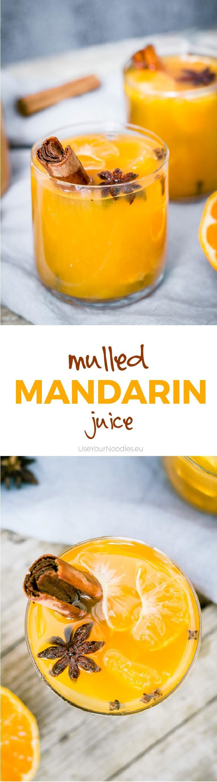 Easy to make from scratch warm autumn mulled mandarin juice spiced with cinnamon, cloves, ginger, peppercorn and star anis! Click to find the whole recipe or pin and save for later!