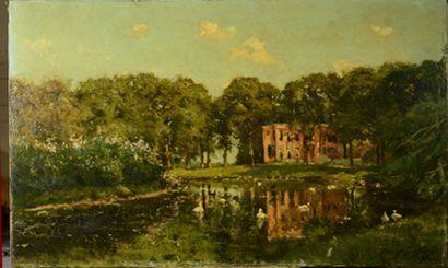 Franz Courtens - Gezicht op Huize Barnaart Landgoed Vogelenzang - voor behandeling - Restauratieatelier Haarlem