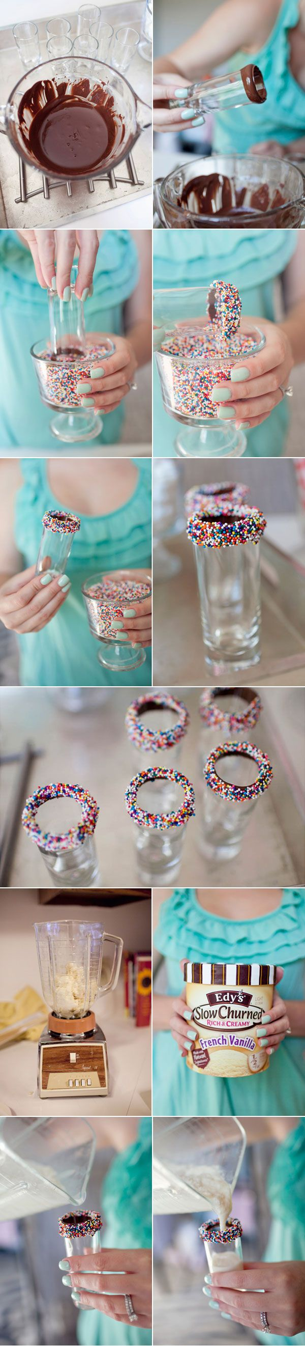 Cool. Milkshakes with fudge/sprinkled rim#Repin By:Pinterest++ for iPad#