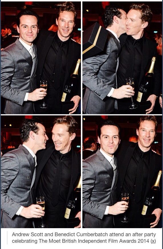 """❤️ Have they all been in a """"flirty mood"""" during the party? Benedict Cumberbatch and Andrew Scott. Forget the Sherlock kiss, Andrew, it was not real!!!!"""