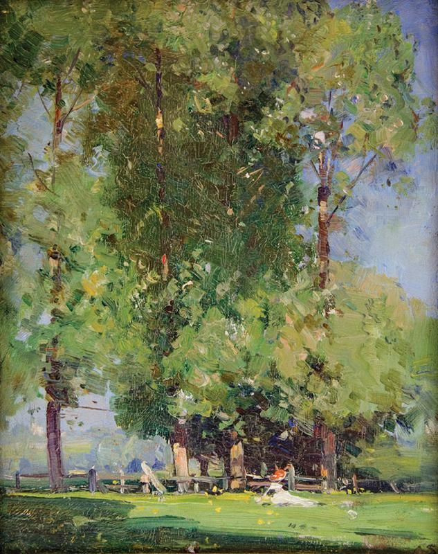 Leafy June, Oil on panel, 23.9 x 18.5 cm, Arthur Streeton