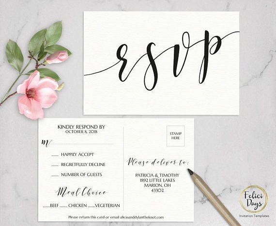 Pdf Instant Download AB520 TEMPLETT DIY Rsvp Floral Greenery Rsvp Card template Editable Calligraphy Rsvp Printable RSVP Postcard