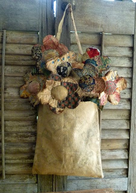 Primitive Quilt Flowers with vintage feed by FolkArtandPrimitives