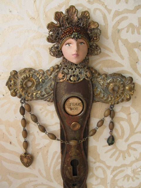 Salvage Angel mixed media art doll sculpture by OhMyGypsySoul