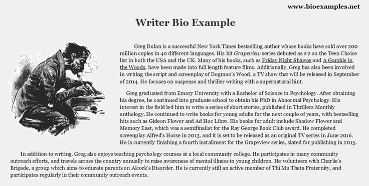 how to write a short author biography websites