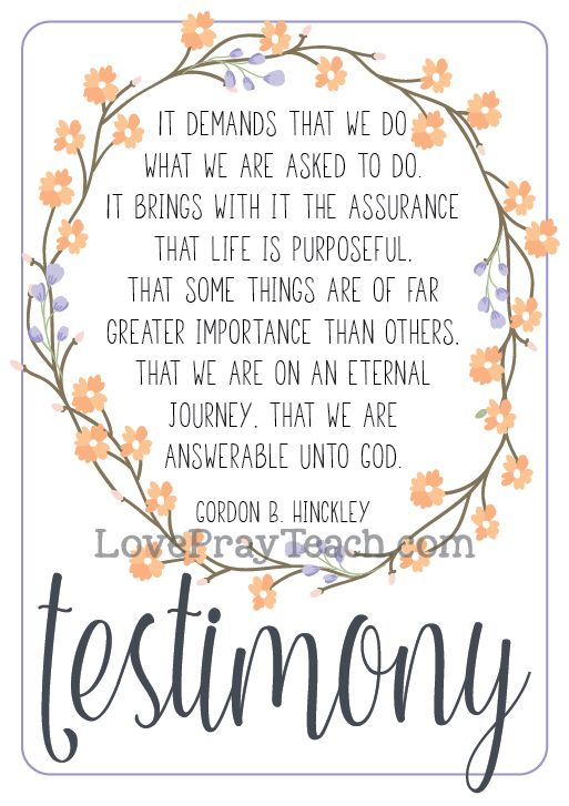 "Gordon B. Hinckley Chapter 9: 'The Precious Gift of Testimony"" Lesson Packet includes power point, handouts, journal pages, notes pages, object lesson, activity idea and more! www.LovePrayTeach.com"
