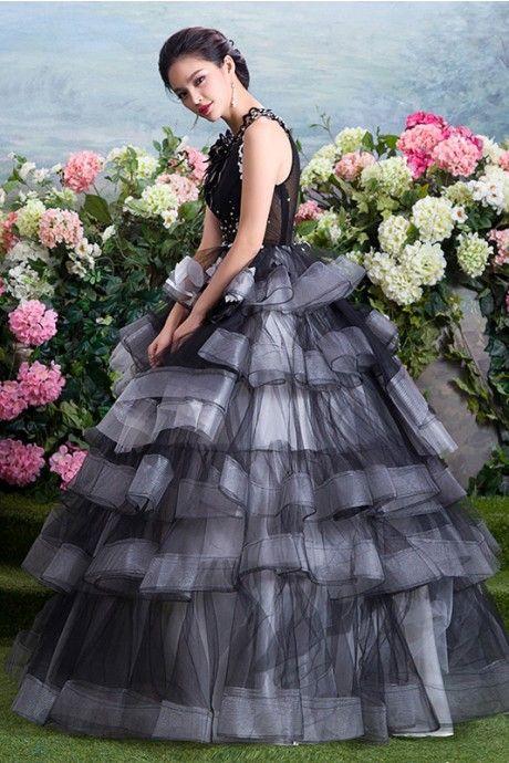 イリュージョン ボールガウン オーガンジー フロアー丈 独特な レースアップ フリル グレー 手作りの花付き ボールガウン カラードレス 結婚式 花嫁ドレス Cfz0001