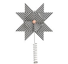 ferm LIVING Christbaumspitze Stern Paper Top Star Black Stripe