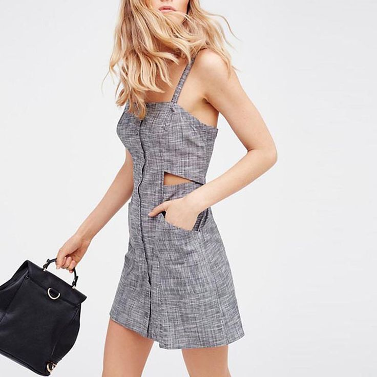 HDY Haoduoyi Cut Out Backless Single Breasted Pocket Halter Mini Dress Sexy Night Out A-line Dress Spaghetti Strap Vestidos