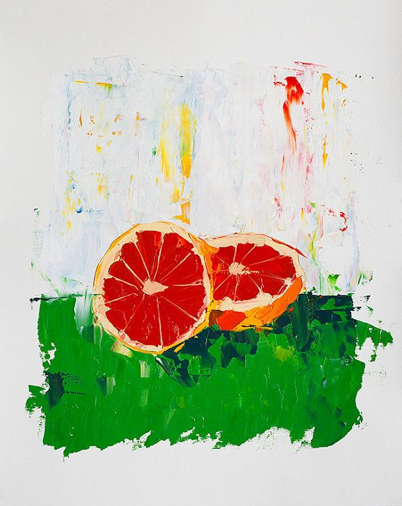 Grapefruit Fruit Painting   Abstract Painting   Kitchen Art Print    Impressionist Oil Painting   Fruit
