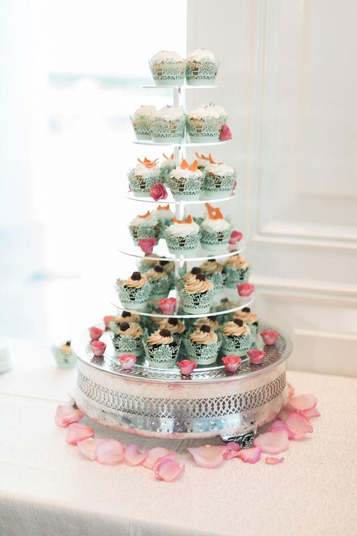 Beachy Miami Wedding at The Ritz-Carlton Bal Harbour, FL  Cute cupcake tower!   Photographer: Landon Hendrick Photography
