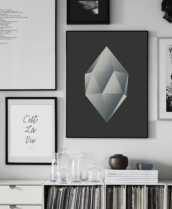 Polygonal Shape Wall Art PRINTABLE FILE. Grey Ombre Trendy