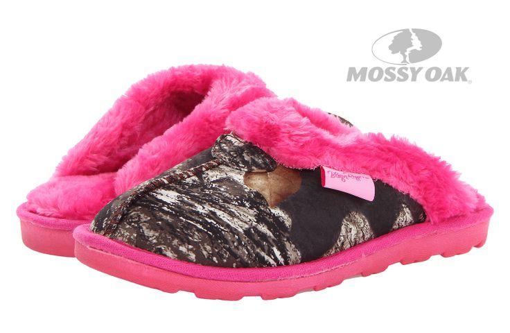 M&F Western Fleece Slide Slippers in Mossy Oak Camo and Hot Pink