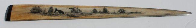 antique scrimshawed swordfish bill w whaling scene dec : Lot 76