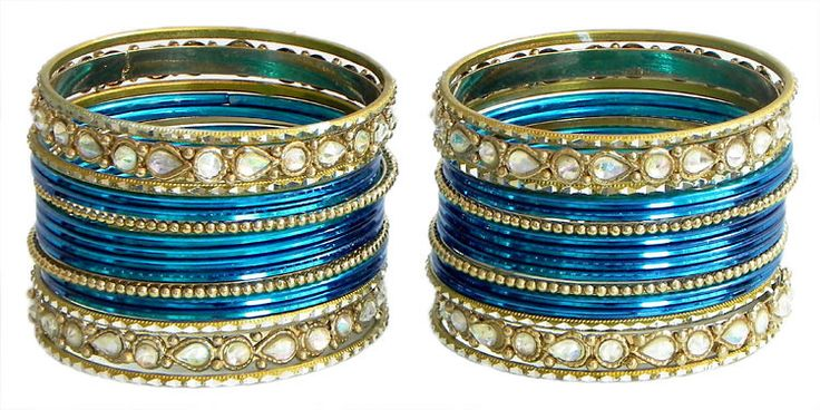 Two Sets of Stone Studded Blue with Golden Bangles (Metal)