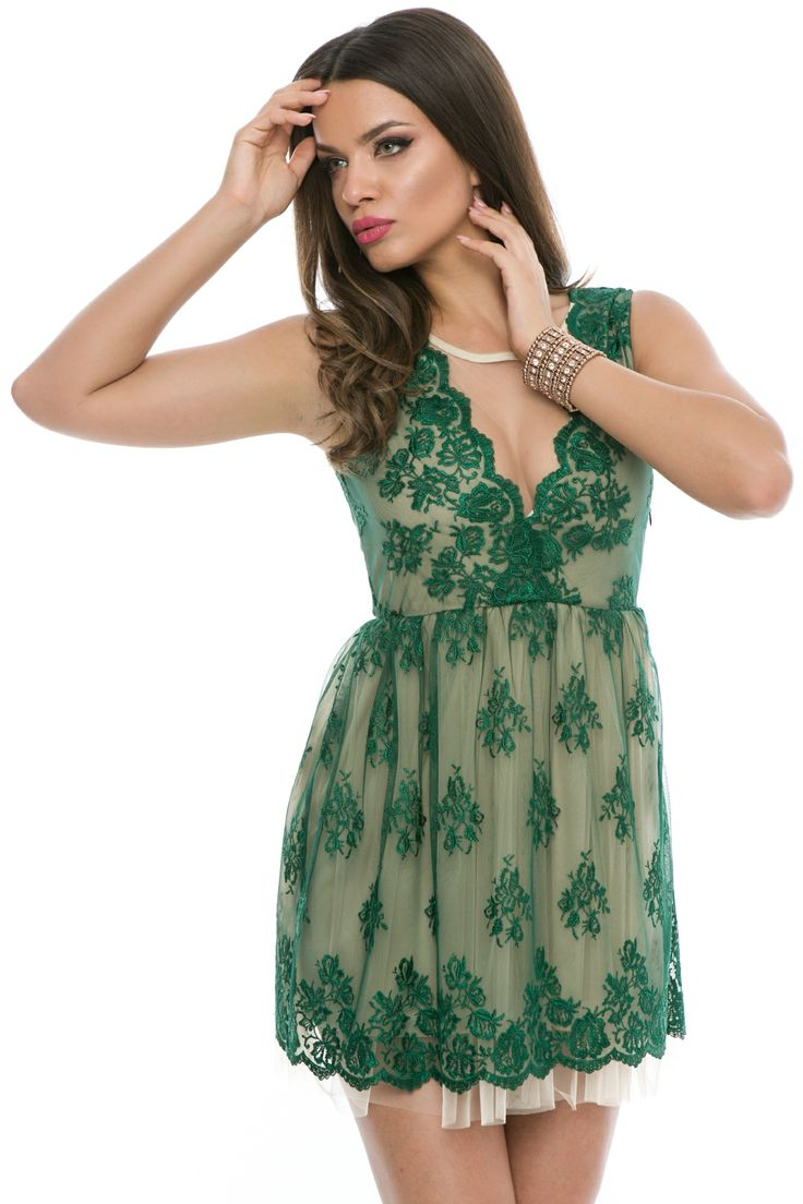 Rochie scurta din dantela  #green #dress #lace #elegant #fashion #summercollection #2016