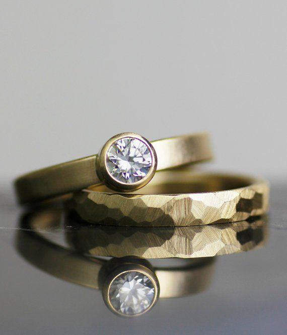 Image of 14K gold faceted engagement / wedding ring set - women's wedding band set