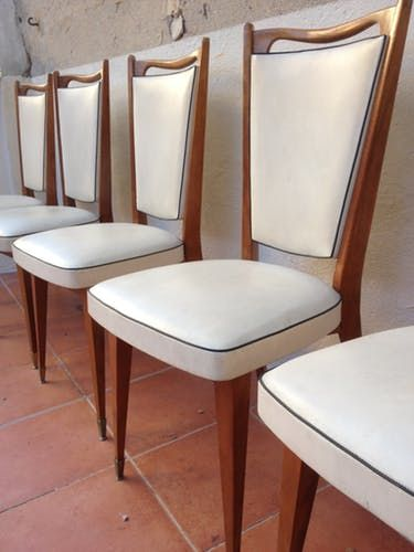 Lot De 6 Chaises Vintage Monobloc Bois Vernis Et Cuir Annees 50 Chaise Vintage Chaise Bois