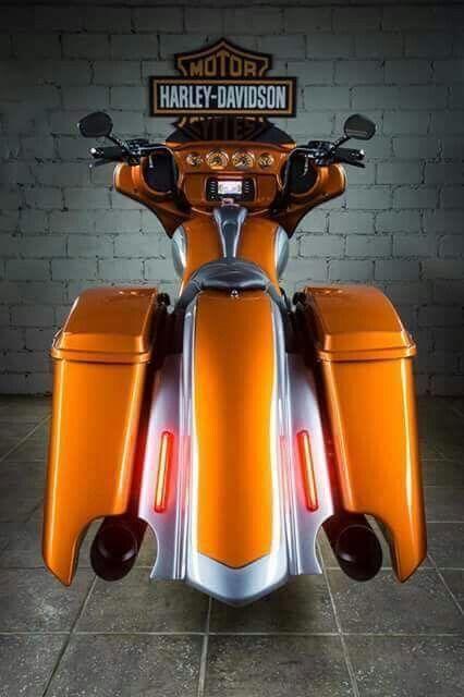 Harley Davidson Street Glide FLHX 2015 Orange Custom bagger #harleydavidsonglide