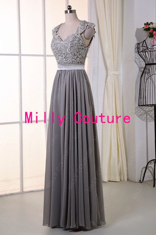 Grey Long Lace Bridesmaid Dress Backless lace prom by MillyCouture