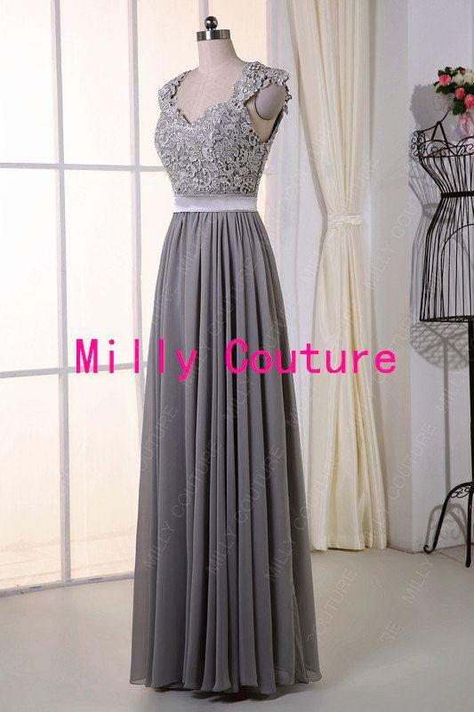 Gris largo de Dama de honor vestido de encaje por MillyCouture