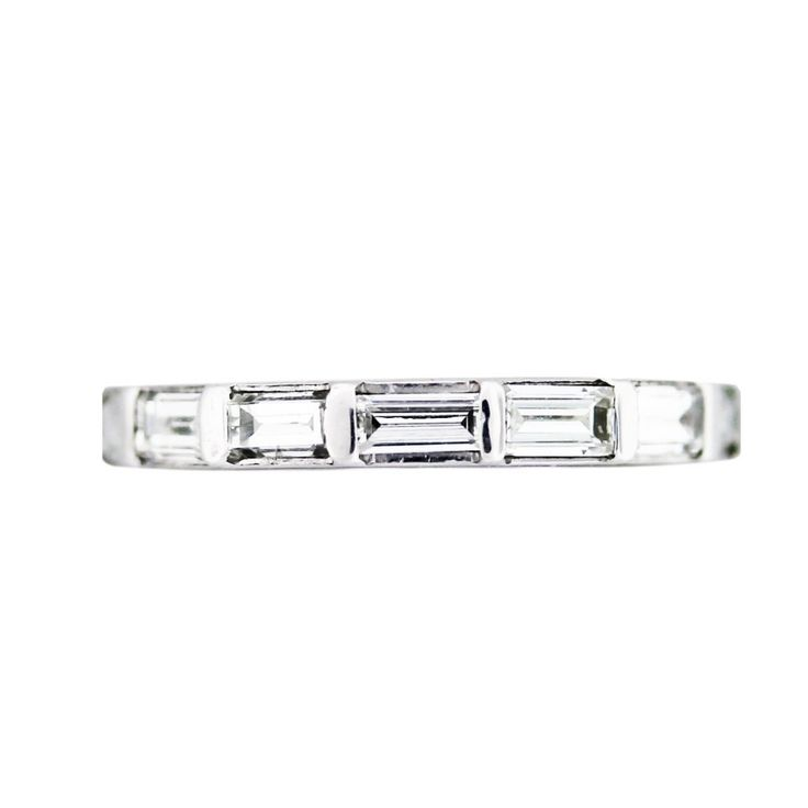 ring eternity cut full band carat bands platinum diamonds baguette