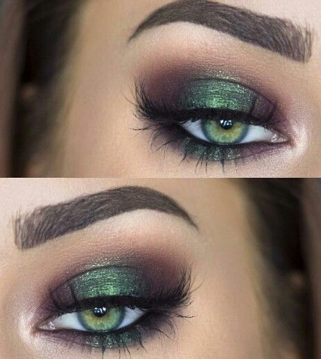 Earthy green which makes the green eyes pop. I'd like to try this on my dark brown eyes.