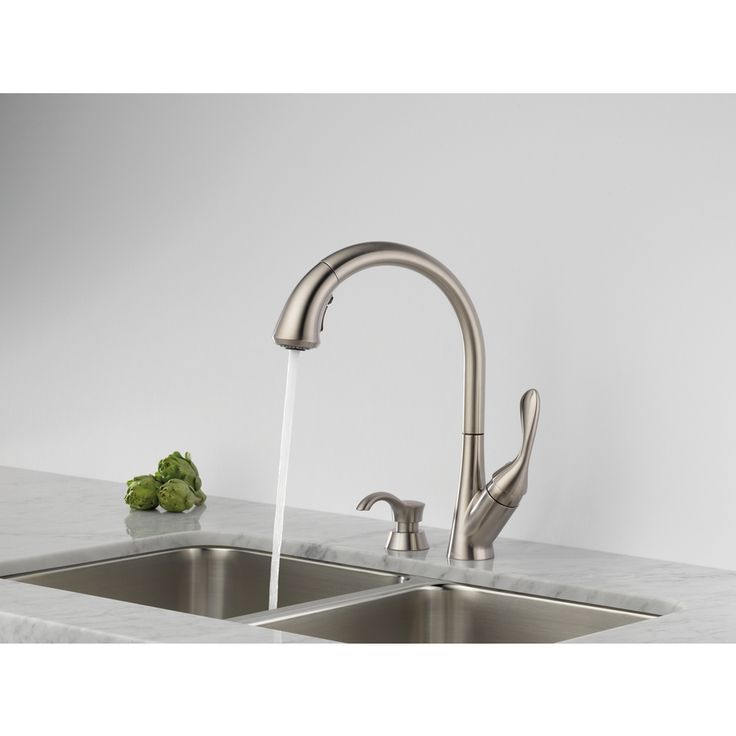 Shop Delta Ashton Stainless 1-Handle Pull-Down Sink/Counter Mount Traditional Kitchen Faucet at Lowes.com - $219
