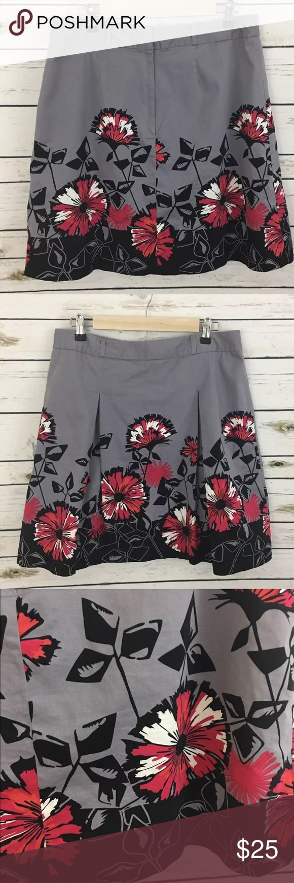 """Apt. 9 Pleated Lined A-Line Skirt Apt. 9 Women's Black Gray Pleated Lined A-Line Skirt Size 12 Casual Career  Measurements:  Waist - 16"""" Length - 20""""  Material - 97% cotton 3% spandex  Inventory # - B2 Apt.9 Skirts A-Line or Full"""