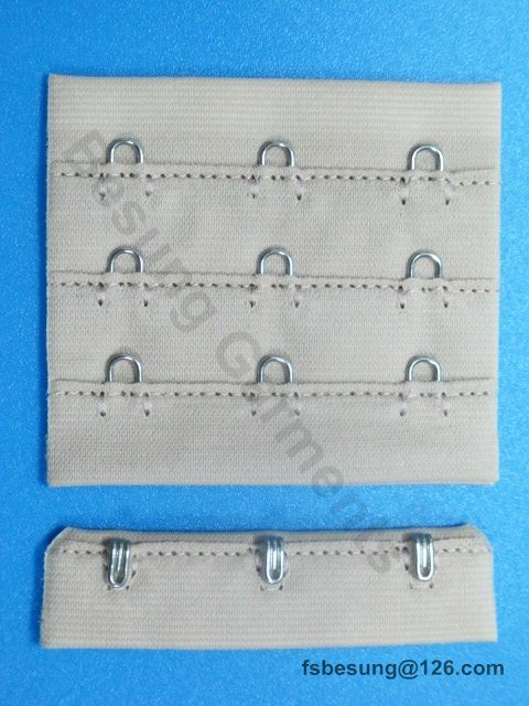 "bra hook and eye tape 3/4"" 3x3, nylon fabric top stitching, silver hook and eye"
