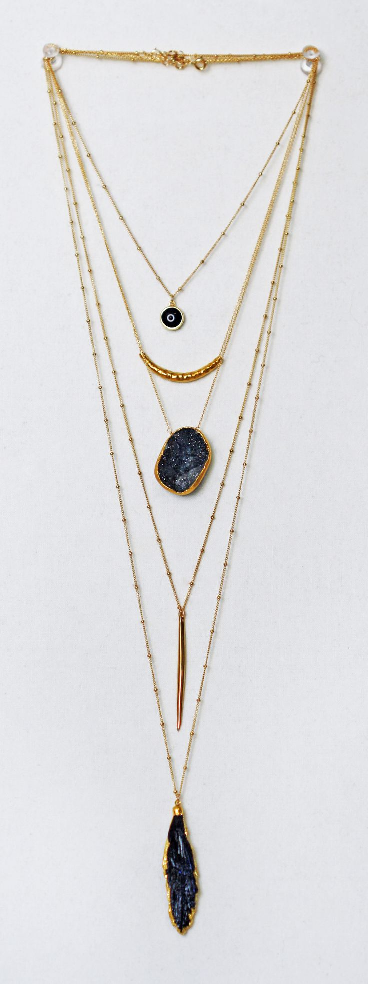black + gold layered chains | kei