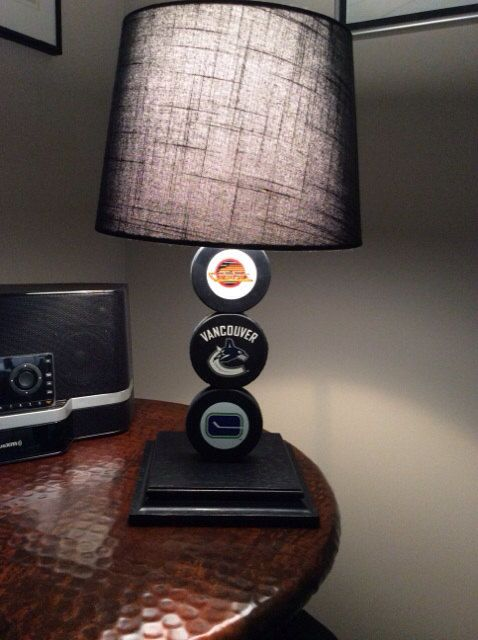 Vancouver Canucks Hockey Puck Lamp on Etsy, $65.00