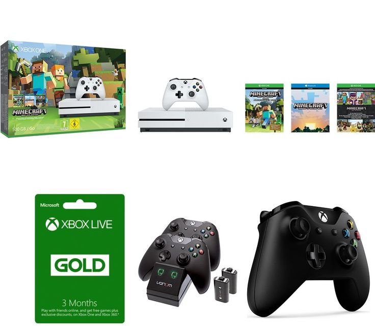 ION MICROSOFT  Xbox One S, Minecraft Favourites, Controller, Docking Station & 3 Months Xbox LIVE Gold Membership Bundle, Gold Price: £ 269.99 You'll be ready for epic gaming sessions with the Microsoft Xbox One S, Minecraft Favourites, Controller, Docking Station & 3 Months Xbox LIVE Gold Membership Bundle . _____________________________________________________________ Microsoft Xbox One S...