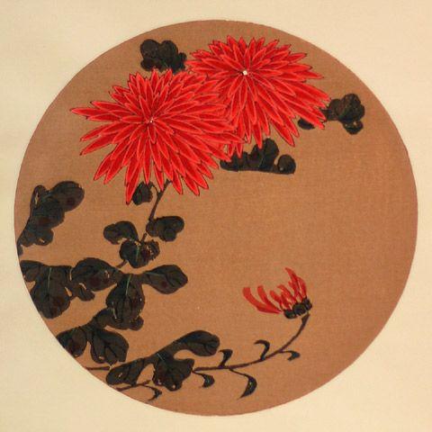 伊藤若冲『紅菊(べにぎく)』-「花卉図天井画」Jakuchu Ito