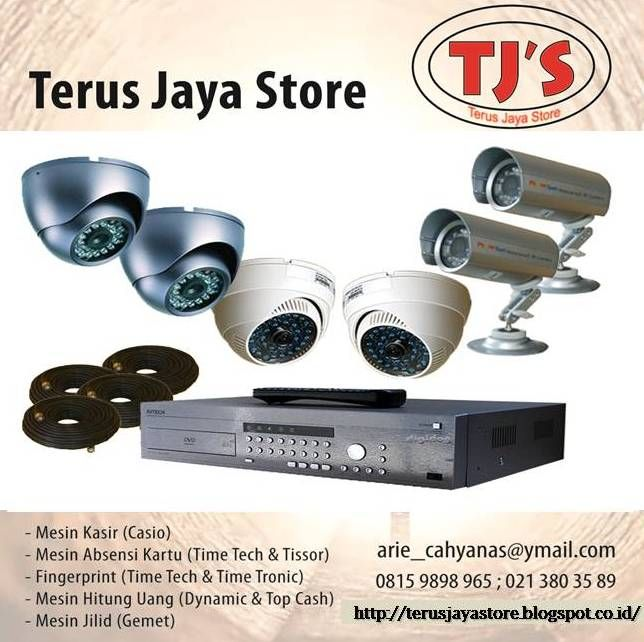Close Circuit Television (CCTV) Merk/Brand : Avtech  Option Channel / Pilihan Kamera : 2 Channel & 4 Channel atau 8 Channel.   Included/Termasuk :  Harddisk Seagate 500 GB,  1 (satu) unit Power Supply dan  3 (tiga) unit Indoor Infrared Camera (kapasitas 1,3 Mega Pixel),  1 (satu) unit Outdoor Infrared Camera (kapasitas 1,3 Mega Pixel),  Biaya Pemasangan serta  Biaya Setting Internet.   Hormat kami,  Terus Jaya Store Arie Cahyana SE Hp:  Ph:  Email : arie_cahyanas.com