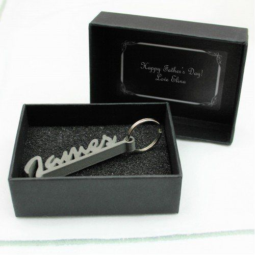 Personalised Cut Out Name Keyring Gift  Each piece is made to order through our state of the art 3D printers using a Matte Steel Powder combined with PLA. They are then polished/sanded by hand helping us to create something unique for every customer.  A personalised message can be added onto the inside of the box.