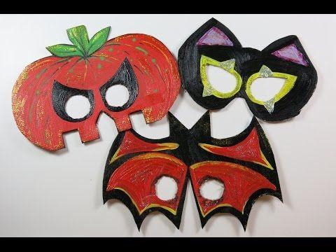 DIY Cute Halloween Masks for Kids. How to Make Masks from Cartons, Bat, Pumpkin,Cat - YouTube