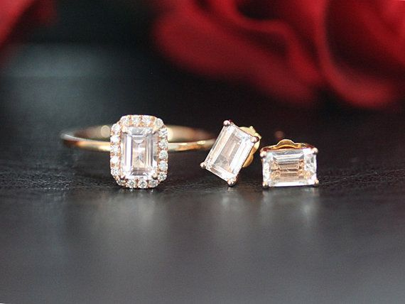 14K Rose Gold Morganite Jewelry Set Mini Emerald Cut Morganite Engagement Ring & Morganite Stud Earring/Unique Morganite Wedding Jewelry by LeeCityDesign