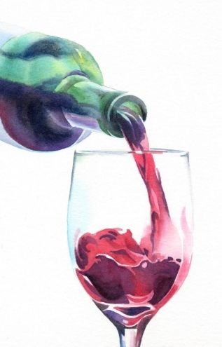 wine painting   RED, RED WINE watercolor painting, original painting by artist Barbara ...