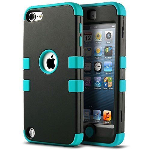 awesome iPod 5 case, ULAK iPod Touch 6 Case 3in1 Hybrid Impact Shockproof Soft Silicone Bumper Case Hard PC Protective Cover for Apple iPod Touch 5th 6th Generation (Black/Blue)