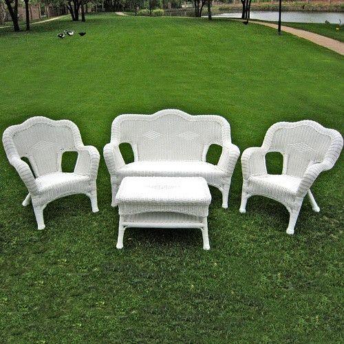 International Caravan Madison Wicker Resin Patio Conversation Set   Seats 4    Conversation Patio Sets At