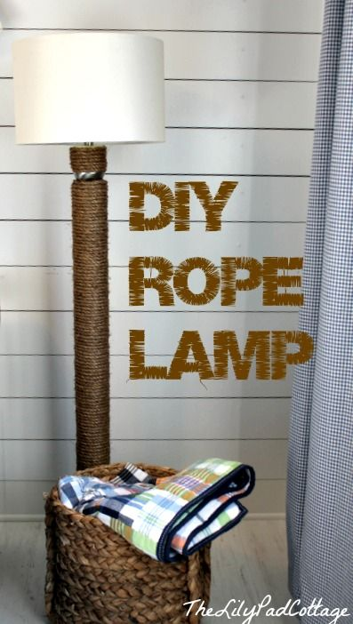 This DIY rope lamp could not be easier. I used an old lamp, a pool noodle, masking tape and some rope. The only tool you need is a hot glue gun!