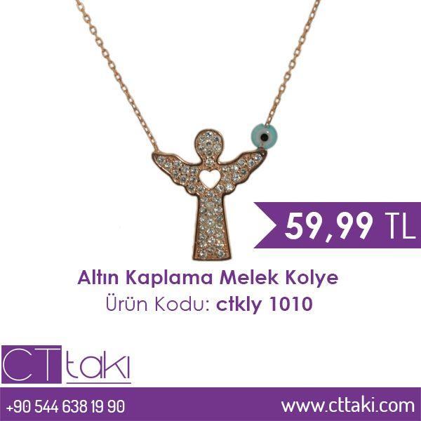 Altın kaplama melek kolye.  59,99 TL fiyatı ile CT Takı'da. #altın #kap #melek #kolye #fiyat #ucuz #indirim #şık #aksesuar #kadın #takıtasarım #takı #cttakı