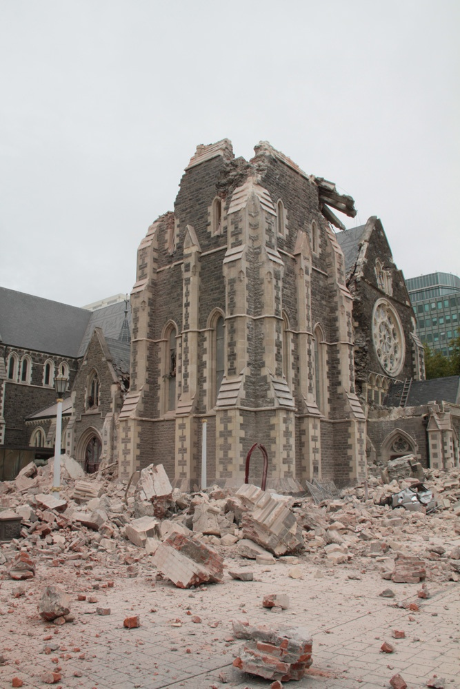 Christchurch's iconic Cathedral sustains severe damage in the earthquake, 22 Feb 2011