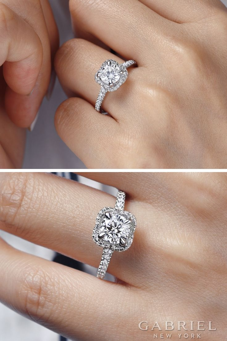 Unique 14k White Gold Round Halo Engagement Ring Shop More Beautiful Diamond Rings Styl Round Halo Engagement Rings Dream Engagement Rings Wedding Ring Metals