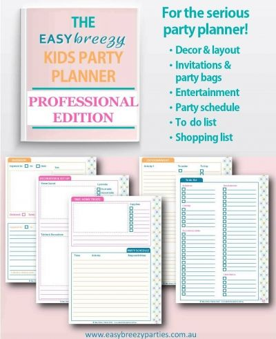 A free printable Party Planner - Professional Edition - that will help you plan elaborate parties with ease. Includes space to plan decorations & venue layout, invitations & party bags, entertainment, party schedule, to do & shopping lists.  Download for free at http://easybreezyparties.com.au/party-inspiration-and-ideas/item/62-the-pro-kids-party-planner-a-free-download.html #planner #easybreezyparties