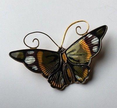 "David Anderson 1.75"" Sterling Silver Enamel Butterfly Pin c1960 NORWAY"