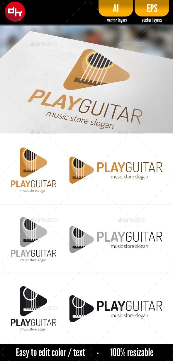 Play Guitar - Logo Design Template Vector #logotype Download it here: http://graphicriver.net/item/play-guitar/10821691?s_rank=1445?ref=nexion