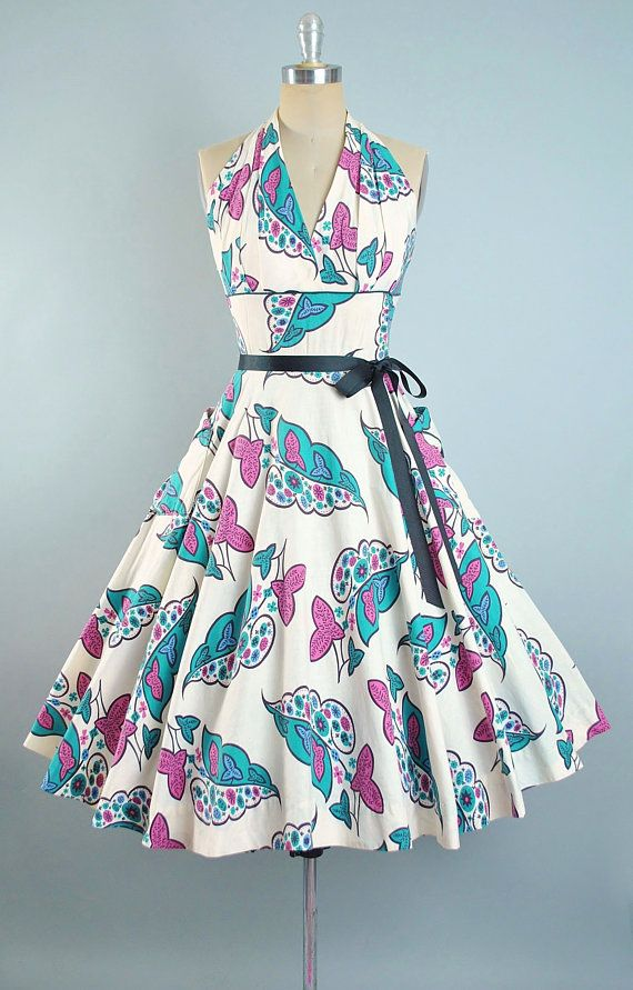 Vintage 50s Halter Top Dress / 1950s Cotton Sundress Purple